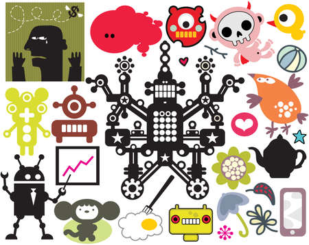 vector images: Mix of different vector images and icons.  Illustration