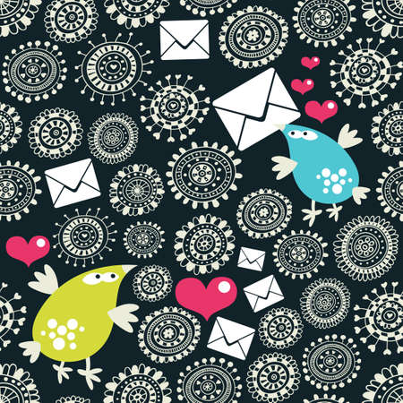 Seamless pattern with envelopes, birds and hearts. Vector illustration. Vector
