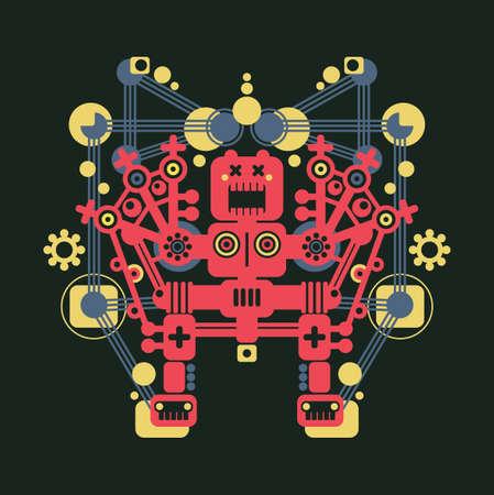 red eye: Big colorful robot #5. Vector illustration of monster.