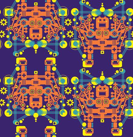 Big robots seamless pattern in orange. Vector texture. Vector