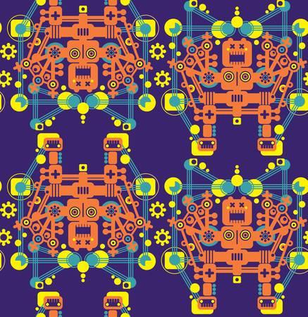 Big robots seamless pattern in orange. Vector texture. Vector