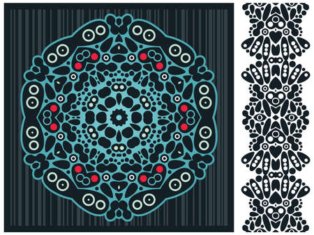 original circular abstract: Decorative element and psychedelic seamless pattern.