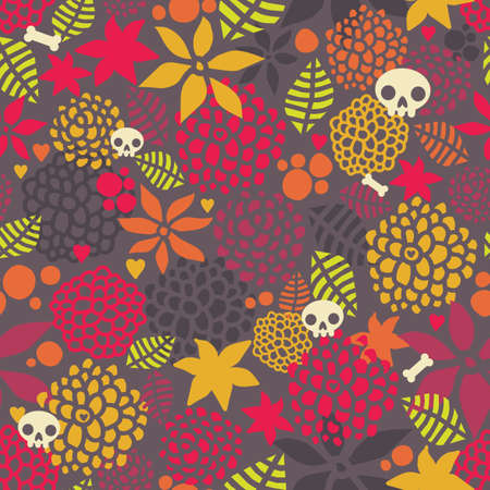 Skulls and flowers seamless pattern   Vector