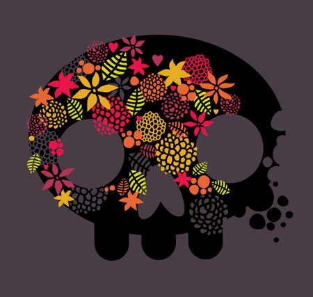 floral decoration: Skull, love and flowers