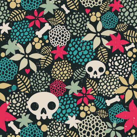 Big skulls and flowers seamless background   Vector