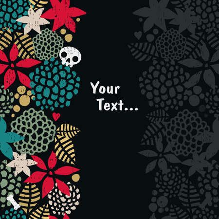 Vertical seamless background with skull   Vector