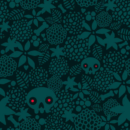 Big skulls and flowers seamless background