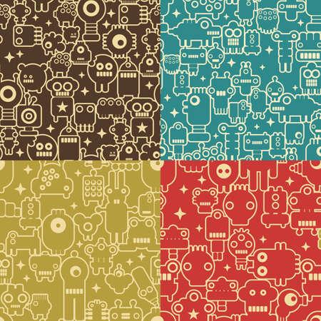 robot caricatura: Robot y los monstruos de cuatro patrones de costura diferentes. Vectores