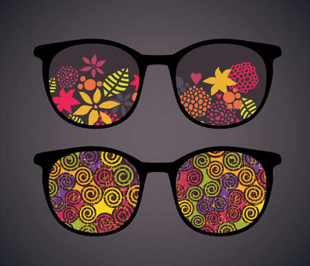 Retro eyeglasses with vintage reflection in it.  Vector