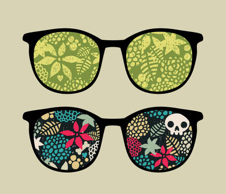 Retro eyeglasses with floral reflection in it.  Vector