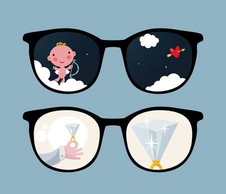 Retro eyeglasses with cute and romantic reflection in it Stock Vector - 12820641