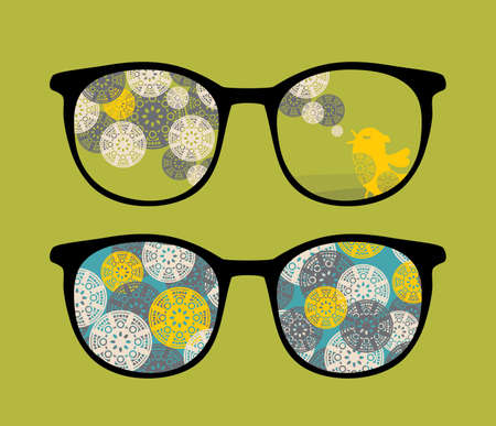 Retro eyeglasses with birds reflection in it   Vector