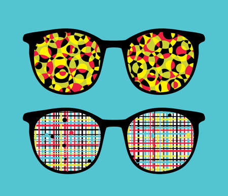 Retro eyeglasses with crazy pattern reflection in it   Vector