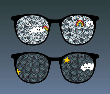 Retro eyeglasses with sky reflection in it   Vector