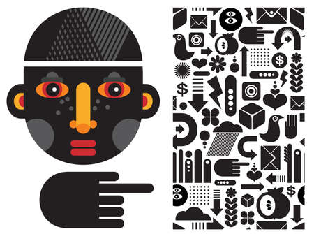 e commerce icon: Black head man and seamless pattern