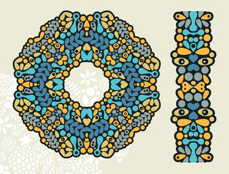 Decoration ring and psychedelic seamless pattern.  Vector