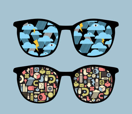 eyeglass: Retro eyeglasses with symbols reflection in it.  Illustration