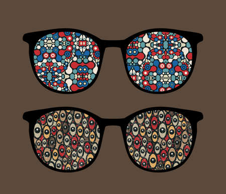 Retro eyeglasses with strange reflection in it. Vector
