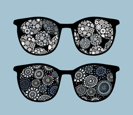Retro eyeglasses with snowflakes  reflection in it.  Vector
