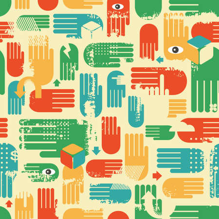 Seamless pattern with arms.  Vector