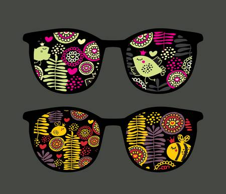 Retro eyeglasses with cute nature reflection in it.  Vector