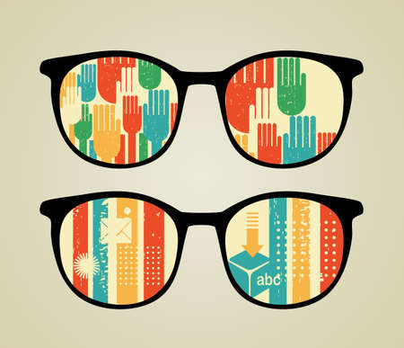 Retro eyeglasses with abstract reflection in it.  Vector