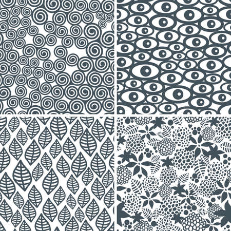 psychoanalysis: Four black and white seamless patterns. Vector textures. Illustration