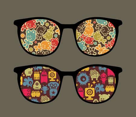 Retro eyeglasses with strange robots reflection in it.