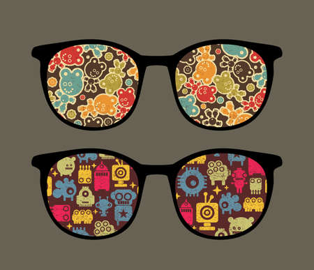 Retro eyeglasses with strange robots reflection in it.  Vector