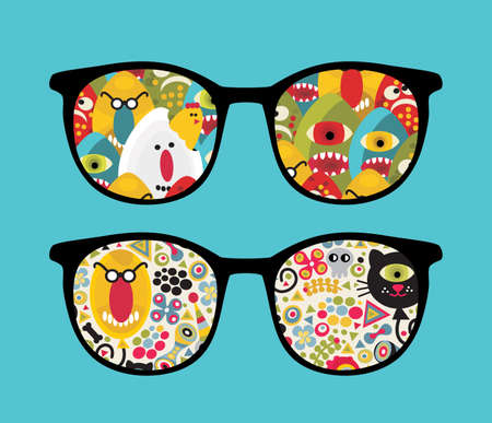 Retro eyeglasses with strange and ugly reflection in it. Vector
