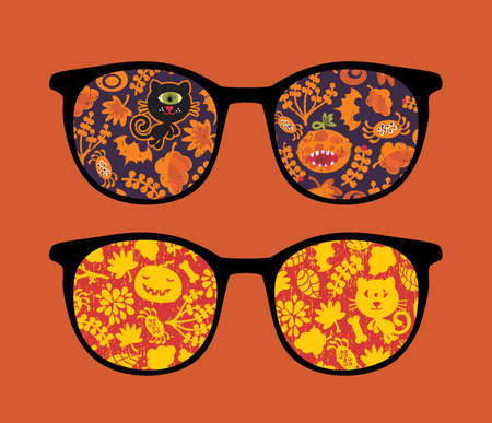 Retro eyeglasses with halloween reflection in it.  Vector