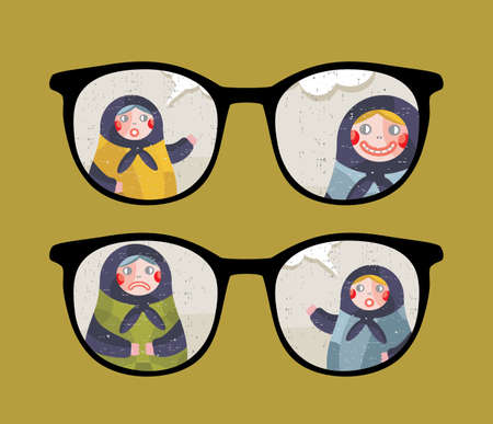Retro eyeglasses with talking dolls reflection in it.  Vector