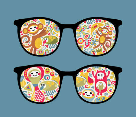 Retro eyeglasses with strange creatures reflection in it.  Vector
