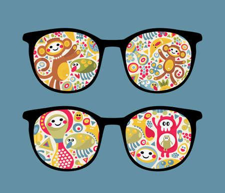 Retro eyeglasses with strange creatures reflection in it.  Vector