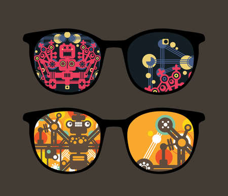 Retro eyeglasses with robots reflection in it.  Vector