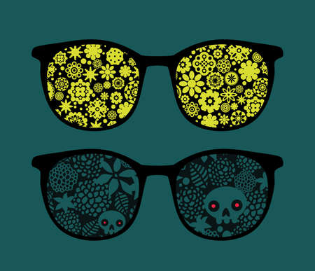 Retro eyeglasses with flowers and plants reflection in it.  Vector