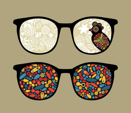 Retro eyeglasses with bird and pattern reflection in it.  Vector