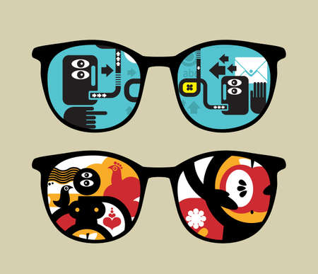 Retro eyeglasses with abstract people reflection in it.  Vector