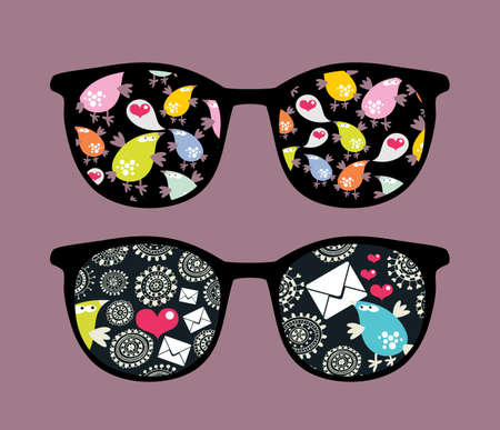Retro eyeglasses with strange birds reflection in it.  Vector