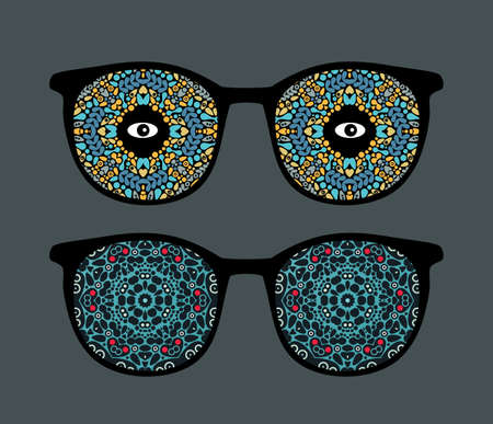 Retro eyeglasses with strange and beautiful reflection in it.  Vector