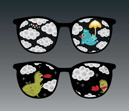 Retro eyeglasses with clouds reflection in it.  Vector