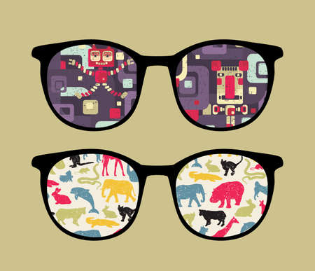 Retro eyeglasses with old school reflection in it. Vector