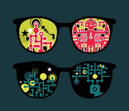 Retro eyeglasses with robots reflection in it   Vector