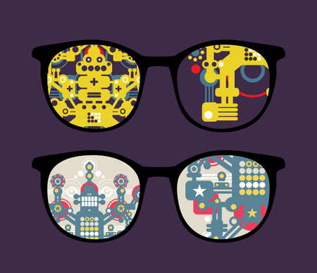 Retro eyeglasses with robots reflection in it