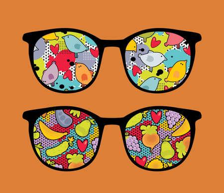 ojos anime: Gafas retro linda con la reflexi�n en el mismo
