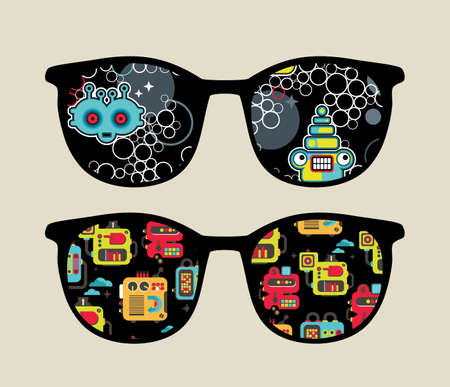 sunglasses reflection: Retro eyeglasses with cute robots reflection in it