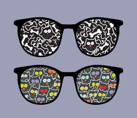 Retro eyeglasses with crazy owls reflection in it   Vector