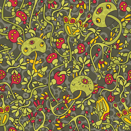 Seamless pattern with psychedelic mushrooms   Vector