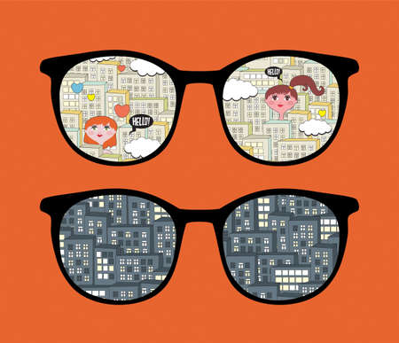 Retro eyeglasses with cityscape reflection in it  Stock Vector - 13057920
