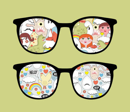 Retro eyeglasses with disorder reflection in it  Vector
